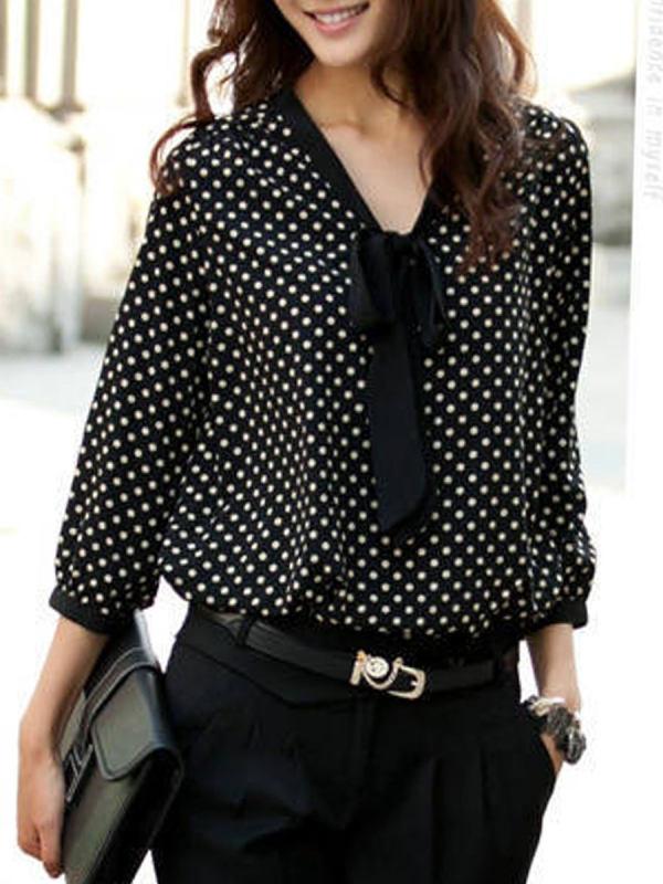 Spring Summer Chiffon Women Tie Collar Polka Dot Long Sleeve Blouses