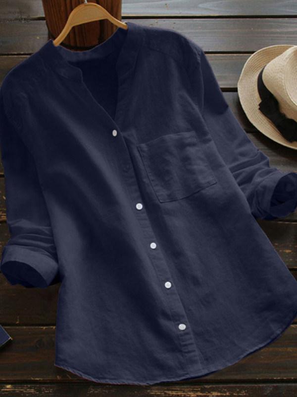 65% Off Autumn Spring V-Neck Linen Plain Shirts & Blouses