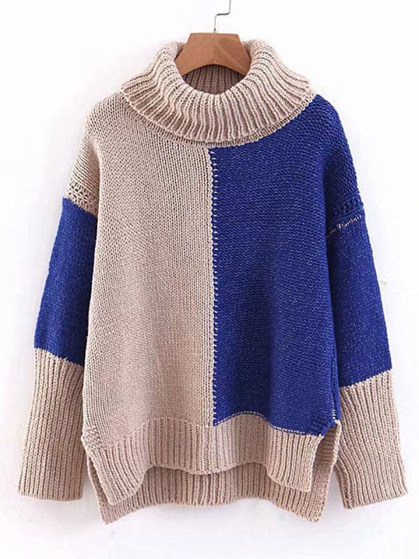 Heap Collar Patchwork Elegant Color Block Long Sleeve Knit Pullover
