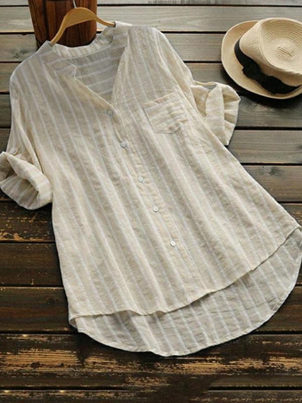 V Neck Loose Fitting Stripes Blouses