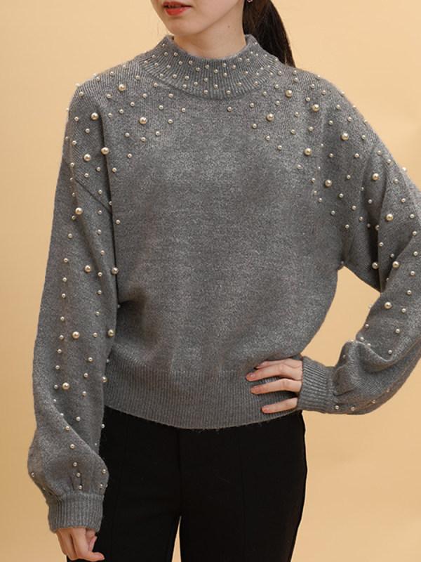 grey sweater with pearls ninacloak