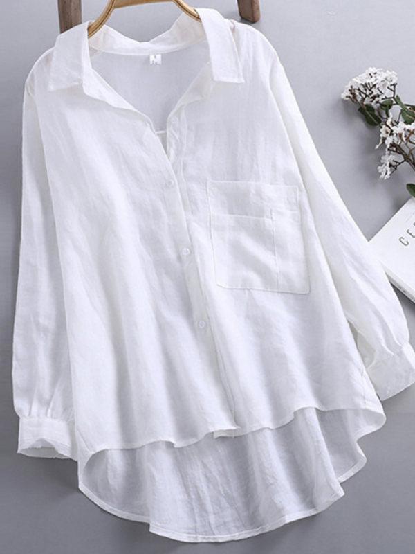 Casual Loose Soild Color Linen Shirt