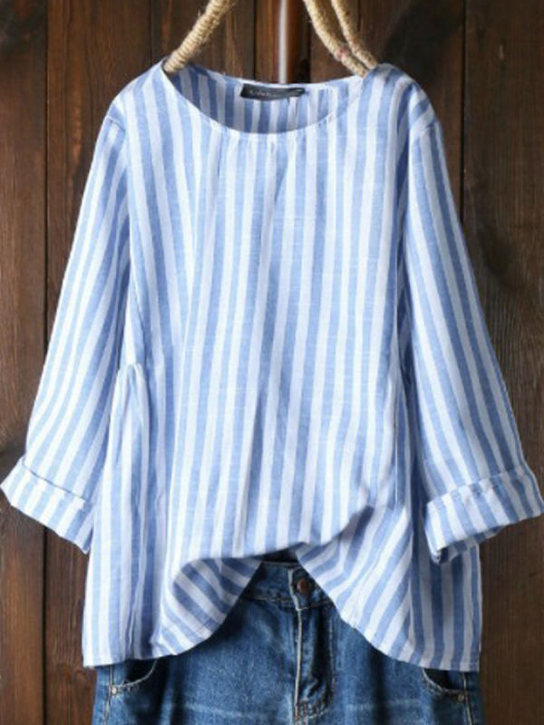 Cotton-Lined Striped Long-Sleeved Crew Neck Blouse