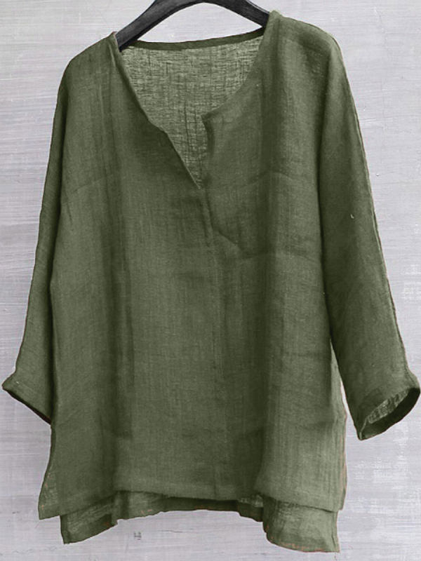 Cotton And Linen Solid Color V-Neck Blouse