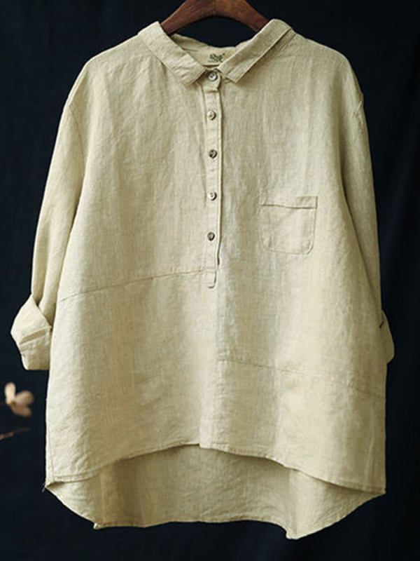 Solid Color Casual Lapel Long-sleeved Cotton And Linen Blouse
