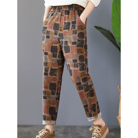 Literary Loose Cotton And Linen Printing Pants