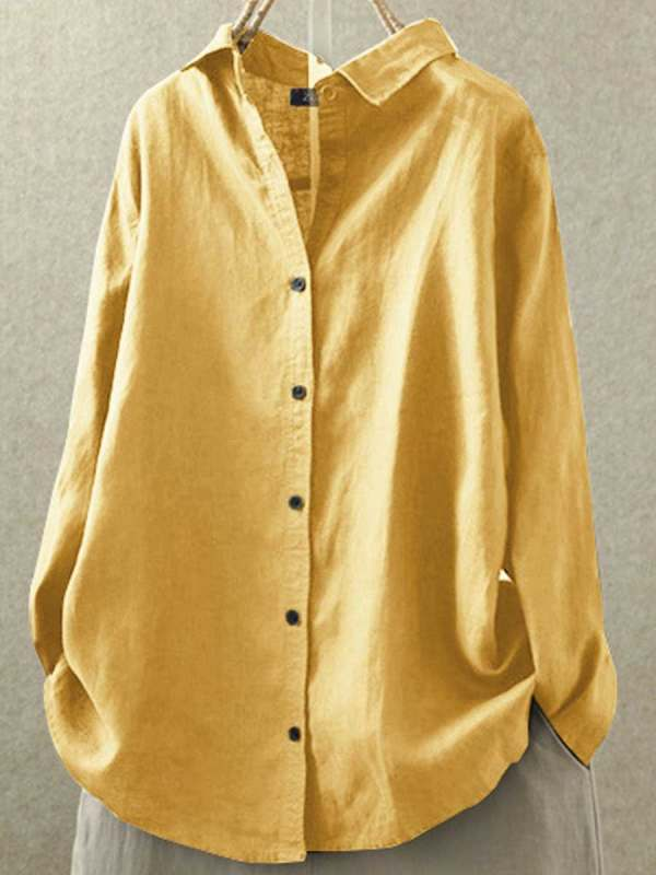 Lapel Casual Cotton And Linen Solid Color Loose Long-sleeved Blouse