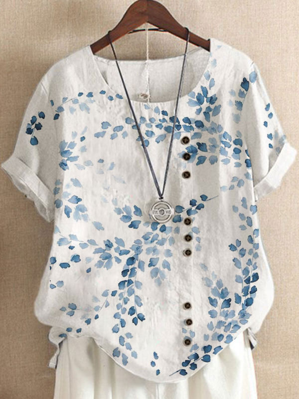 Round Neck Cotton And Linen Printed Short-sleeved Blouse