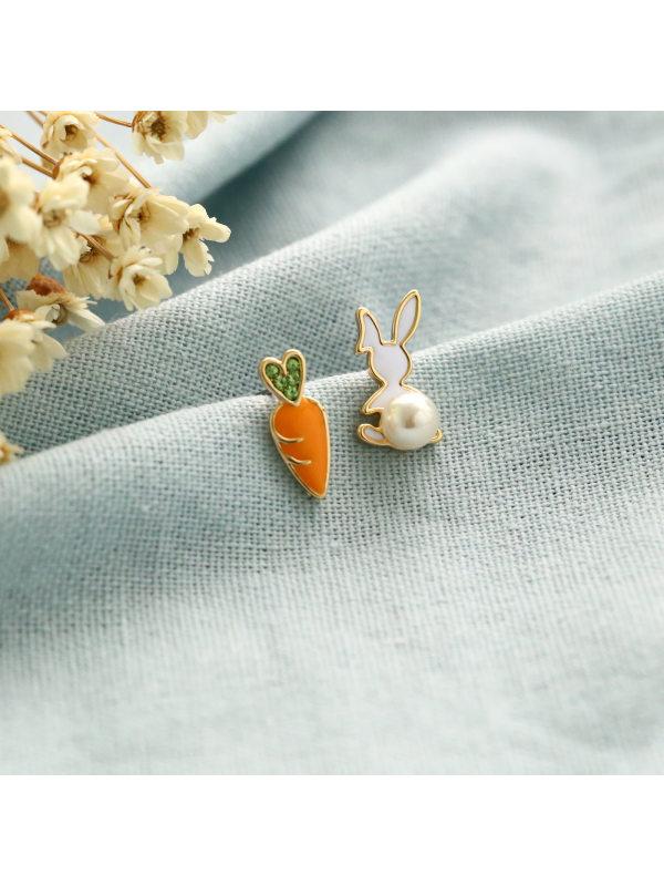 Carrot Rabbit Asymmetrical Pearl Stud Earrings
