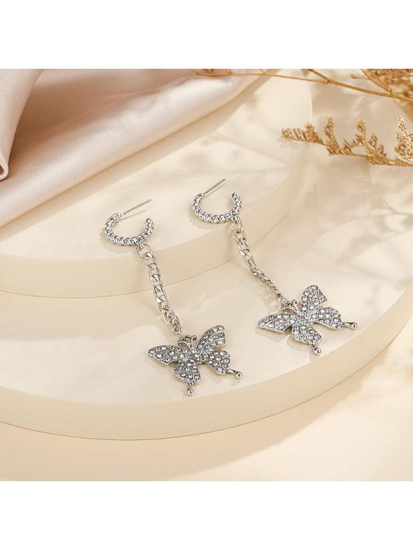 Small butterfly sweet simple earrings tassel long temperamen
