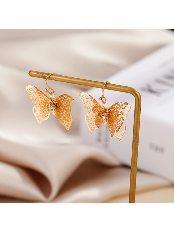 Gold copper European and American new diamond cute butterfly