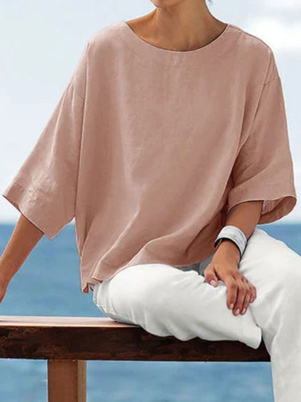 Round Neck Solid Color Simple Fashion Blouse
