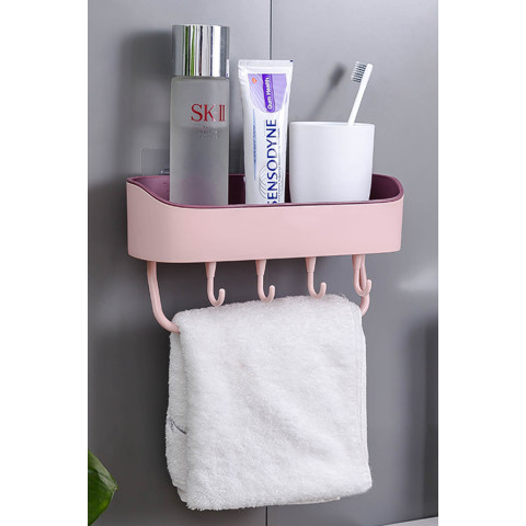 2976 Simple Punch Free Bathroom Wall Mount Rack Multifunctional Kitchen Plastic Storage Organizer