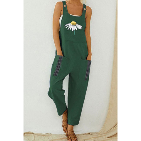 Image of Sling Retro Printed Jumpsuit Loose Casual Slotted Jumpsuit