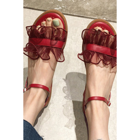 All match fashion flat lace sandals