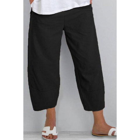 All match Casual Cotton And Linen Stitching Cropped Pants
