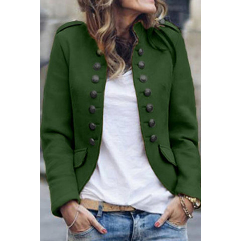 Image of Casual Pure Colour Double-Breasted Jackets