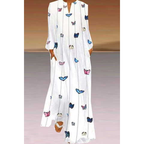Image of Butterfly Print Dress V-neck Long Sleeve Rag Dress