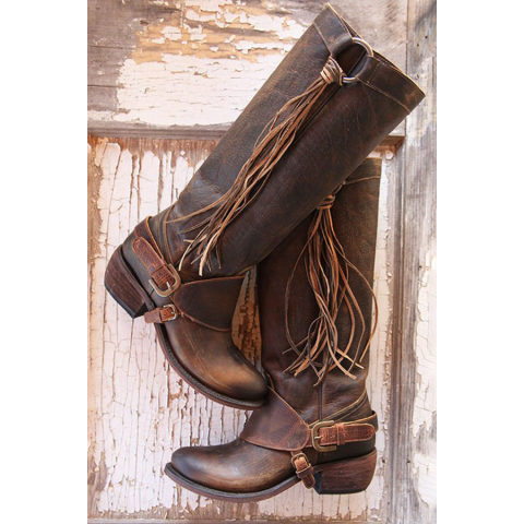 Image of Low Heeled Round Toe Casual Date Outdoor Knee High High Heels Boots