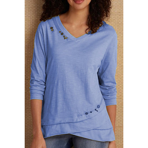 All match Solid Color V neck T shirt