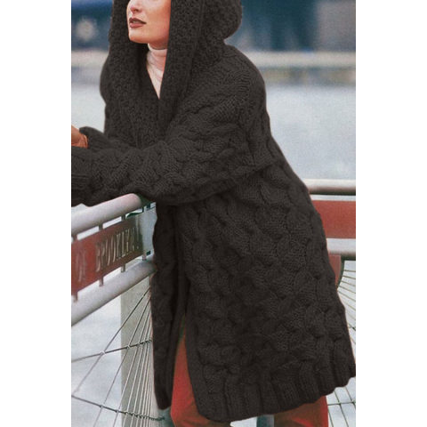 All match Thick Hooded Cardigan