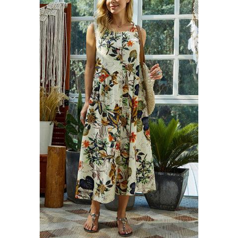 Image of Fashion Botanical Jacquard Sleeveless Dresses