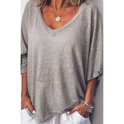 Image of 3/4 Sleeve V Neck Casual Tops