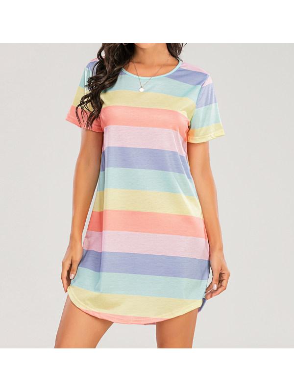 Rainbow striped short sleeve mini dress