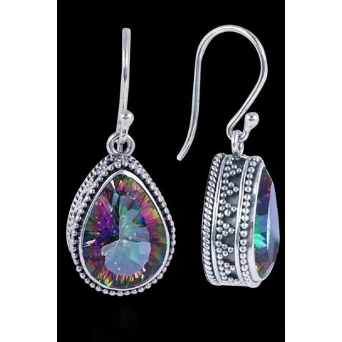 925 silver drop shaped retro seven color earrings