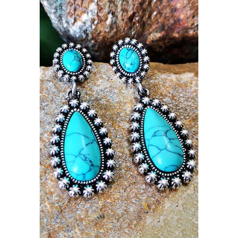 925 silver drop shape turquoise earrings