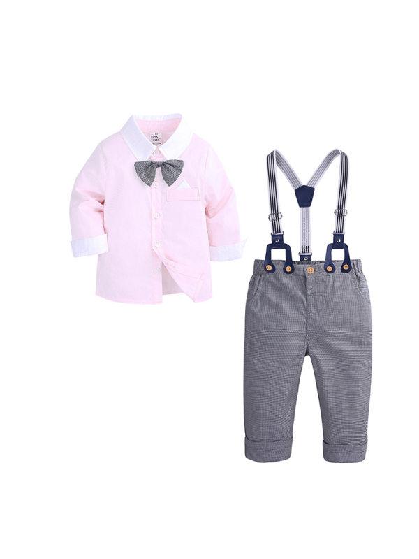 【12M-4Y】Bowknot Decorate Shirt Bib Pants Two-Piece Suit