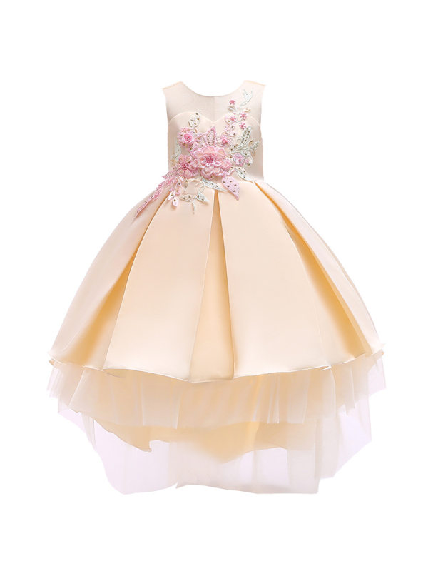 【2Y-11Y】Girls Embroidered Bow Princess Dress