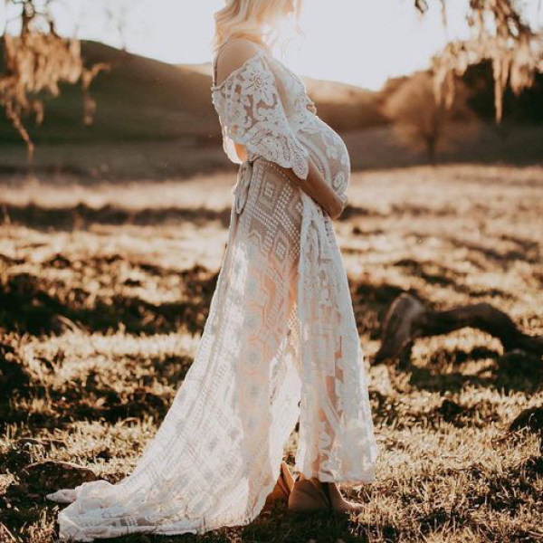 Maternity Long Sleeve Lace Dress