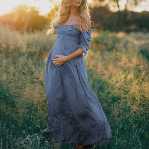 Casual Solid Color Lace Word Collar Maternity Dress