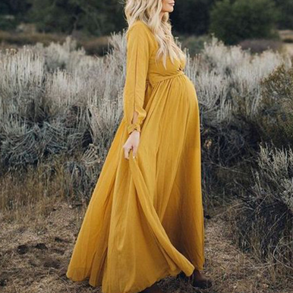Maternity V-neck Long Sleeve Solid Color Dress