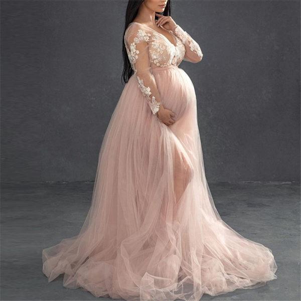 Maternity Elegant V-neck Stitching Mesh Gown Pink Dress