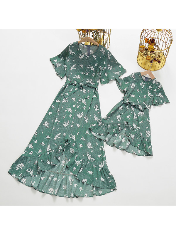 Round Neck Short Sleeve Chiffon Floral Mom Girl Matching Dress - 1395