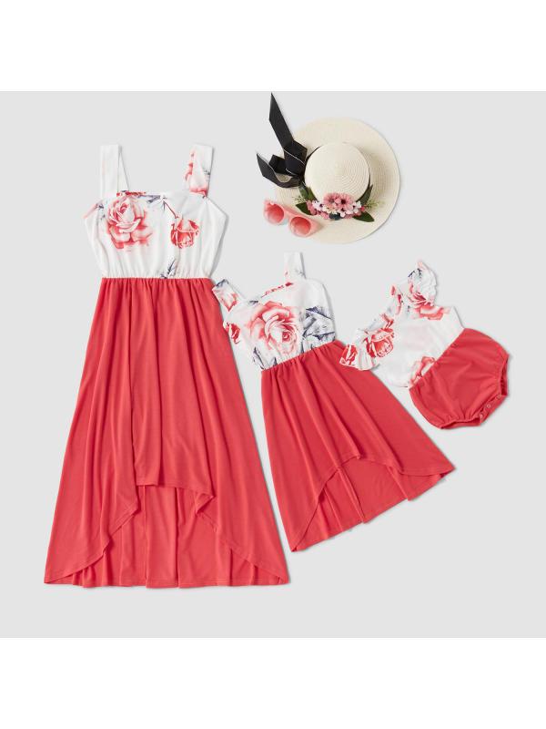 Round Neck Sleeveless Flower Print Mom Girl Matching Dress - 1341