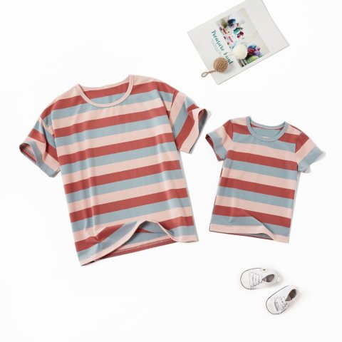 Color striped short sleeve T shirt family matching outfits