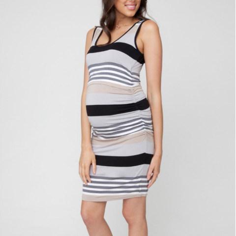 Color Striped Short Sleeve Breastfeeding Dress