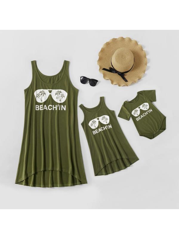 Round Neck Sleeveless Glasses Print Mom Girl Matching Dress