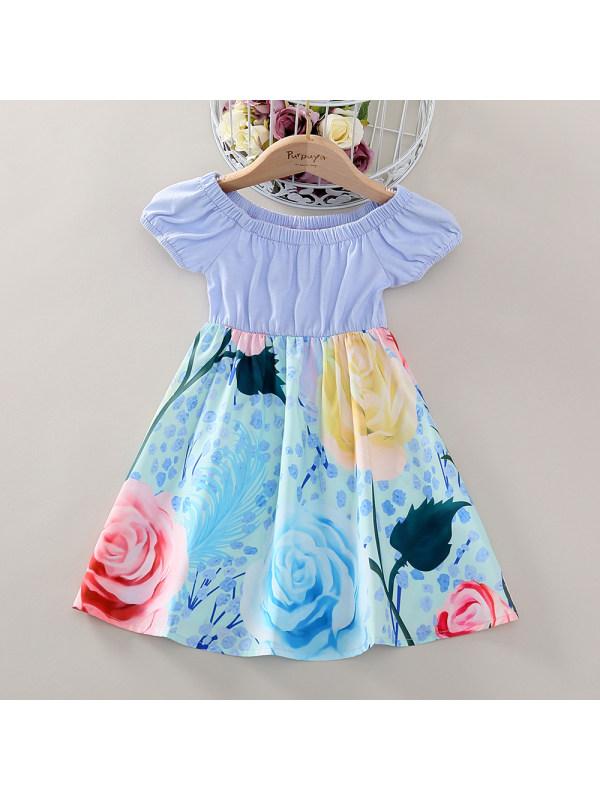 【18M-7Y】Cute Floral Print Short Sleeved Blue Dress