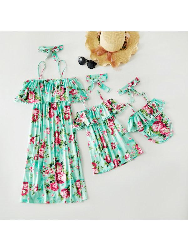 Flower Print Comfortable Mom Girl Matching Dress