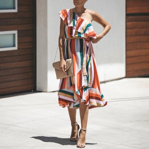 Colorful stripes one shoulder dress