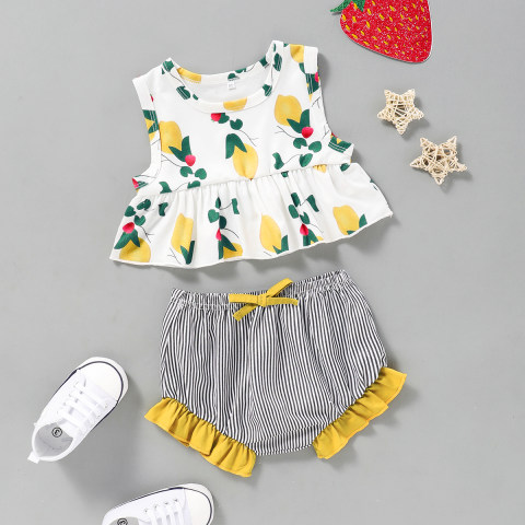 Baby Print Sleeveless Top Striped Shorts Set