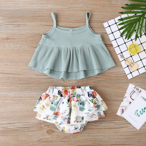 Baby girl knitted sling top printed shorts two piece set