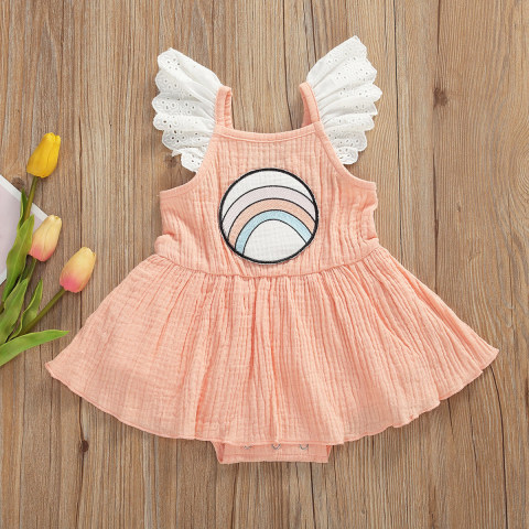 Baby cute printed small flying sleeve cotton dress