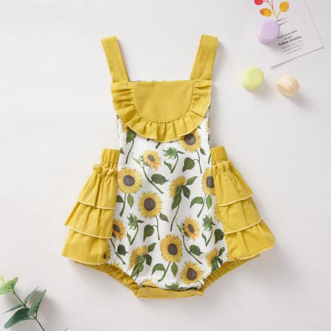Baby cute print ruffle romper