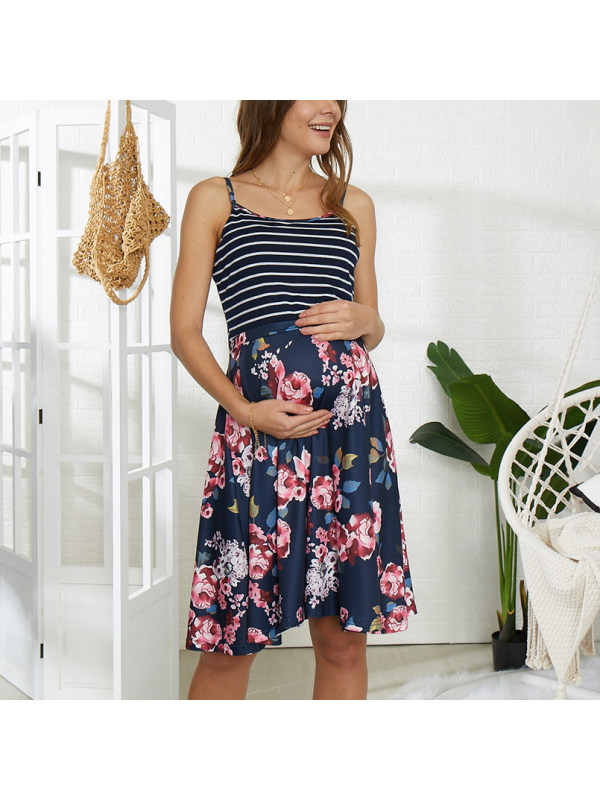 Maternity striped stitching flower breastfeeding dress