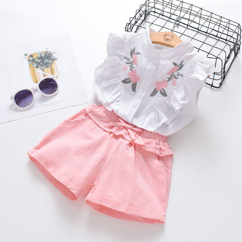 Girl embroidered vest shorts suit